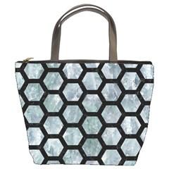 Hexagon2 Black Marble & Ice Crystals Bucket Bags by trendistuff