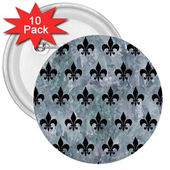 Royal1 Black Marble & Ice Crystals (r) 3  Buttons (10 Pack)  by trendistuff