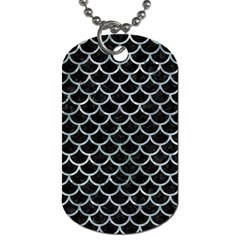 Scales1 Black Marble & Ice Crystals (r) Dog Tag (one Side) by trendistuff