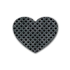 Scales2 Black Marble & Ice Crystals (r) Heart Coaster (4 Pack)  by trendistuff