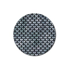 Scales3 Black Marble & Ice Crystals Rubber Round Coaster (4 Pack)  by trendistuff