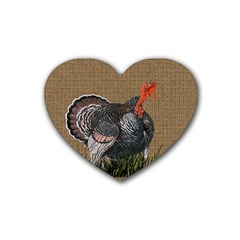 Thanksgiving Turkey Rubber Coaster (heart)  by Valentinaart