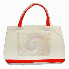 Mother Of Pearls Luxurious Fractal Spiral Necklace Classic Tote Bag (red) by beautifulfractals