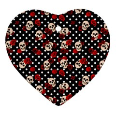 Skulls And Roses Heart Ornament (two Sides) by Valentinaart
