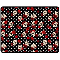 Skulls And Roses Fleece Blanket (medium)  by Valentinaart