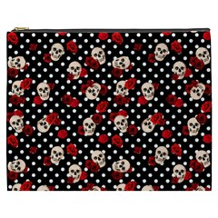 Skulls And Roses Cosmetic Bag (xxxl)  by Valentinaart