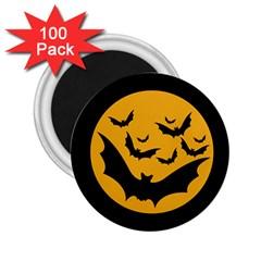 Bats Moon Night Halloween Black 2 25  Magnets (100 Pack)  by Alisyart