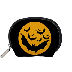 Bats Moon Night Halloween Black Accessory Pouches (small)  by Alisyart