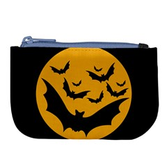 Bats Moon Night Halloween Black Large Coin Purse by Alisyart