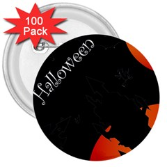 Castil Witch Hlloween Sinister Night Home Bats 3  Buttons (100 Pack)  by Alisyart