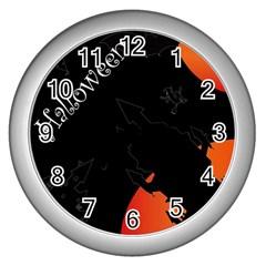 Castil Witch Hlloween Sinister Night Home Bats Wall Clocks (silver)  by Alisyart