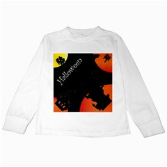 Castil Witch Hlloween Sinister Night Home Bats Kids Long Sleeve T Shirts by Alisyart