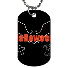 Halloween Bat Black Night Sinister Ghost Dog Tag (two Sides) by Alisyart