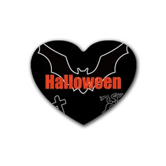 Halloween Bat Black Night Sinister Ghost Rubber Coaster (heart)  by Alisyart
