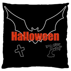 Halloween Bat Black Night Sinister Ghost Large Flano Cushion Case (one Side) by Alisyart