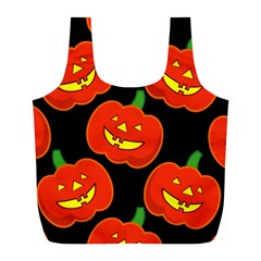 Halloween Party Pumpkins Face Smile Ghost Orange Black Full Print Recycle Bags (l)  by Alisyart