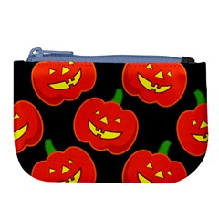 Halloween Party Pumpkins Face Smile Ghost Orange Black Large Coin Purse by Alisyart