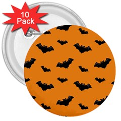 Halloween Bat Animals Night Orange 3  Buttons (10 Pack)  by Alisyart