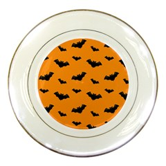 Halloween Bat Animals Night Orange Porcelain Plates by Alisyart