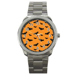 Halloween Bat Animals Night Orange Sport Metal Watch by Alisyart