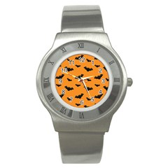 Halloween Bat Animals Night Orange Stainless Steel Watch by Alisyart