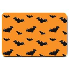 Halloween Bat Animals Night Orange Large Doormat  by Alisyart