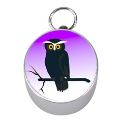 Halloween Owl Bird Animals Night Mini Silver Compasses by Alisyart