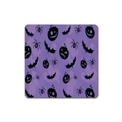 Halloween Pumpkin Bat Spider Purple Black Ghost Smile Square Magnet by Alisyart