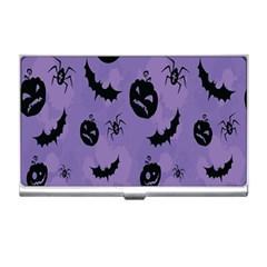 Halloween Pumpkin Bat Spider Purple Black Ghost Smile Business Card Holders by Alisyart