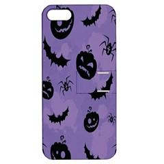 Halloween Pumpkin Bat Spider Purple Black Ghost Smile Apple Iphone 5 Hardshell Case With Stand by Alisyart