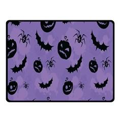 Halloween Pumpkin Bat Spider Purple Black Ghost Smile Double Sided Fleece Blanket (small)  by Alisyart