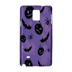 Halloween Pumpkin Bat Spider Purple Black Ghost Smile Samsung Galaxy Note 4 Hardshell Case by Alisyart