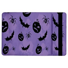 Halloween Pumpkin Bat Spider Purple Black Ghost Smile Ipad Air 2 Flip by Alisyart