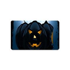 Halloween Pumpkin Dark Face Mask Smile Ghost Night Magnet (name Card) by Alisyart