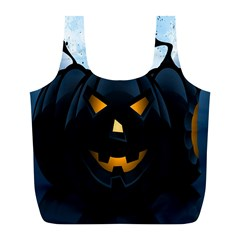 Halloween Pumpkin Dark Face Mask Smile Ghost Night Full Print Recycle Bags (l)  by Alisyart