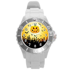 Halloween Pumpkin Bat Party Night Ghost Round Plastic Sport Watch (l) by Alisyart