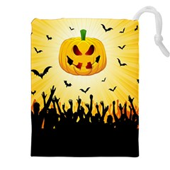 Halloween Pumpkin Bat Party Night Ghost Drawstring Pouches (xxl) by Alisyart