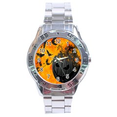Halloween Pumpkin Bat Ghost Orange Black Smile Stainless Steel Analogue Watch by Alisyart