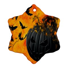 Halloween Pumpkin Bat Ghost Orange Black Smile Ornament (snowflake) by Alisyart