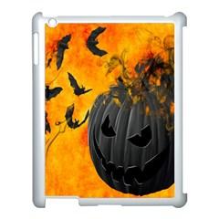 Halloween Pumpkin Bat Ghost Orange Black Smile Apple Ipad 3/4 Case (white) by Alisyart