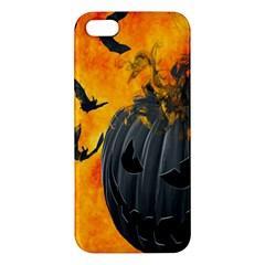 Halloween Pumpkin Bat Ghost Orange Black Smile Apple Iphone 5 Premium Hardshell Case by Alisyart