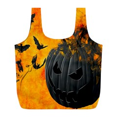 Halloween Pumpkin Bat Ghost Orange Black Smile Full Print Recycle Bags (l)  by Alisyart