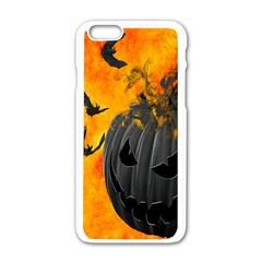 Halloween Pumpkin Bat Ghost Orange Black Smile Apple Iphone 6/6s White Enamel Case by Alisyart