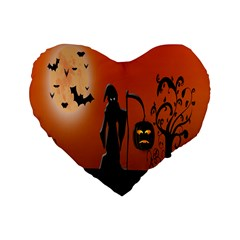 Halloween Sinister Night Moon Bats Standard 16  Premium Heart Shape Cushions by Alisyart