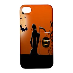Halloween Sinister Night Moon Bats Apple Iphone 4/4s Hardshell Case With Stand by Alisyart