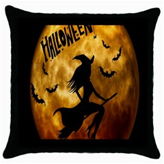 Halloween Wicked Witch Bat Moon Night Throw Pillow Case (black) by Alisyart