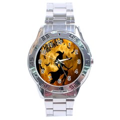Halloween Wicked Witch Bat Moon Night Stainless Steel Analogue Watch by Alisyart