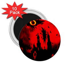 Big Eye Fire Black Red Night Crow Bird Ghost Halloween 2 25  Magnets (10 Pack)  by Alisyart
