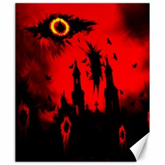 Big Eye Fire Black Red Night Crow Bird Ghost Halloween Canvas 20  X 24   by Alisyart