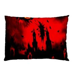 Big Eye Fire Black Red Night Crow Bird Ghost Halloween Pillow Case by Alisyart